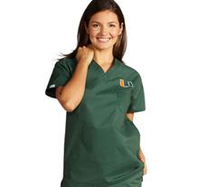 University of Miami Unisex College Scrub Top 5450